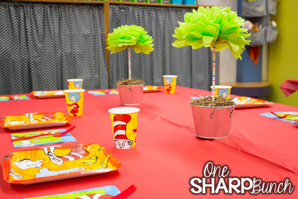 Dr. Seuss birthday party ideas for the classroom, including DIY truffula trees and green eggs and ham pretzels – perfect for your Dr. Seuss classroom activities and Read Across America week!