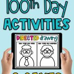 Easily plan a fun and engaging virtual 100th Day of School with these digital 100th Day of School activities for Kindergarten and First Grade! These virtual 100th Day activities are no prep, so they can be completed during remote instruction, as well as in-person learning. To help target academic skills, these 100th Day ideas integrate reading, writing and math. Plus, there are fun 100th Day games and a 100th Day directed drawing! #100thday #100thdayofschool #100thdayactivities #virtual100thday #virtual100thdayofschool