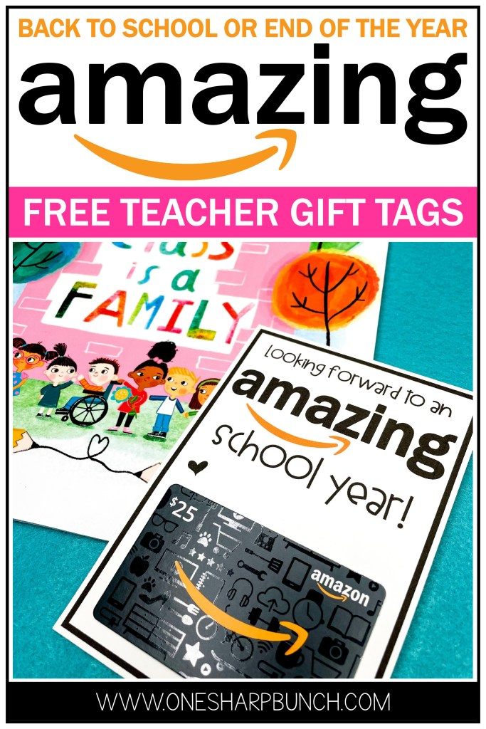 Show your teacher appreciation with these FREE Amazon amazing teacher printable gift tags! This back to school teacher gift idea is the perfect way to celebrate a teacher, teammate, classroom aide or other school staff at the beginning of the year. Printable tags for teacher gifts for the first day of school and the end of the year are included in this DIY teacher gifts download!