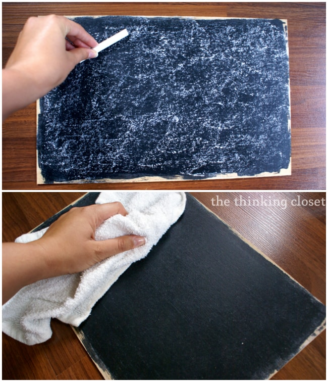 Conditioning or pre-treating the chalkboard with chalk!
