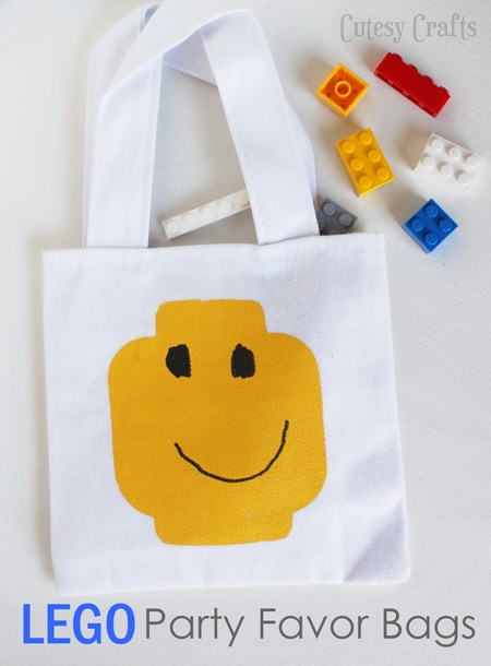 Lego Party Favor Bags - Let the kids draw the faces!