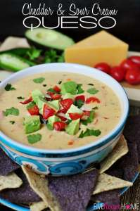 Cheddar and Sour Cream Queso by FiveHeartHome.com