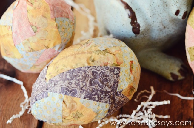Patchwork Easter Egg Craft www.orsoshesays.com