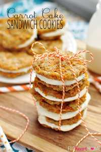 Carrot Cake Sandwich Cookies with Cream Cheese Filling | FiveHeartHome.com