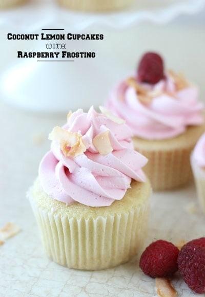 Coconut Lemon Cupcakes with Raspberry Frosting (she: Zainab)