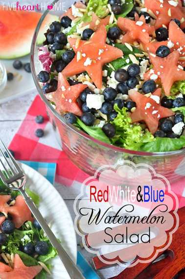 Red, White, & Blue Watermelon Salad with Watermelon Vinaigrette | FiveHeartHome.com