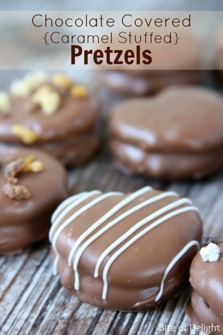 Chocolate Covered Caramel Stuffed Pretzels