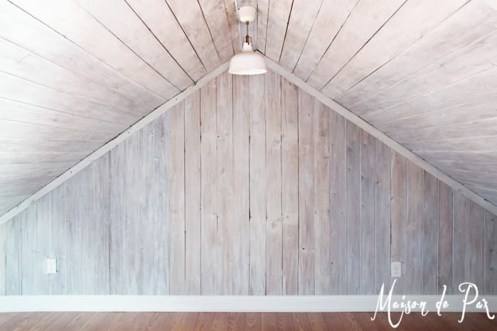 Whitewashed Wood Wall and Ceiling