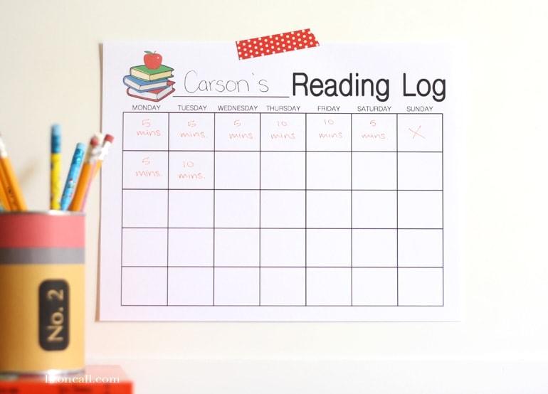 printable reading logs