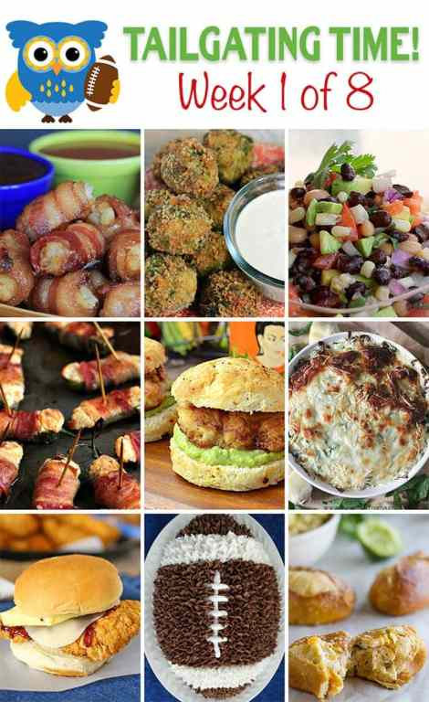 Tailgating Food Ideas ~ 8 Weeks of Them!! Appetizers, desserts, and main dishes! Bakerette.com