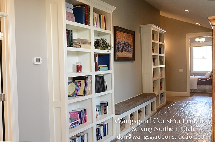 Love the idea of adding shelves in the hallway. Lots and lots of finish carpentry ideas from Mariel's husband, a Utah finish carpenter!