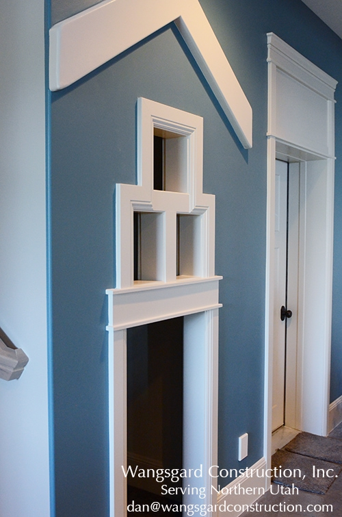 Such a simple and cute way to add a playroom! Lots and lots of finish carpentry ideas from Mariel's husband, a Utah finish carpenter!
