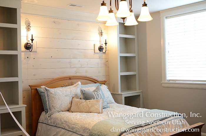 I love this wall and shelves! Lots and lots of finish carpentry ideas from Mariel's husband, a Utah finish carpenter!
