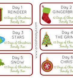 12 days of christmas family fun days 1 6 theme tags [ 1024 x 819 Pixel ]