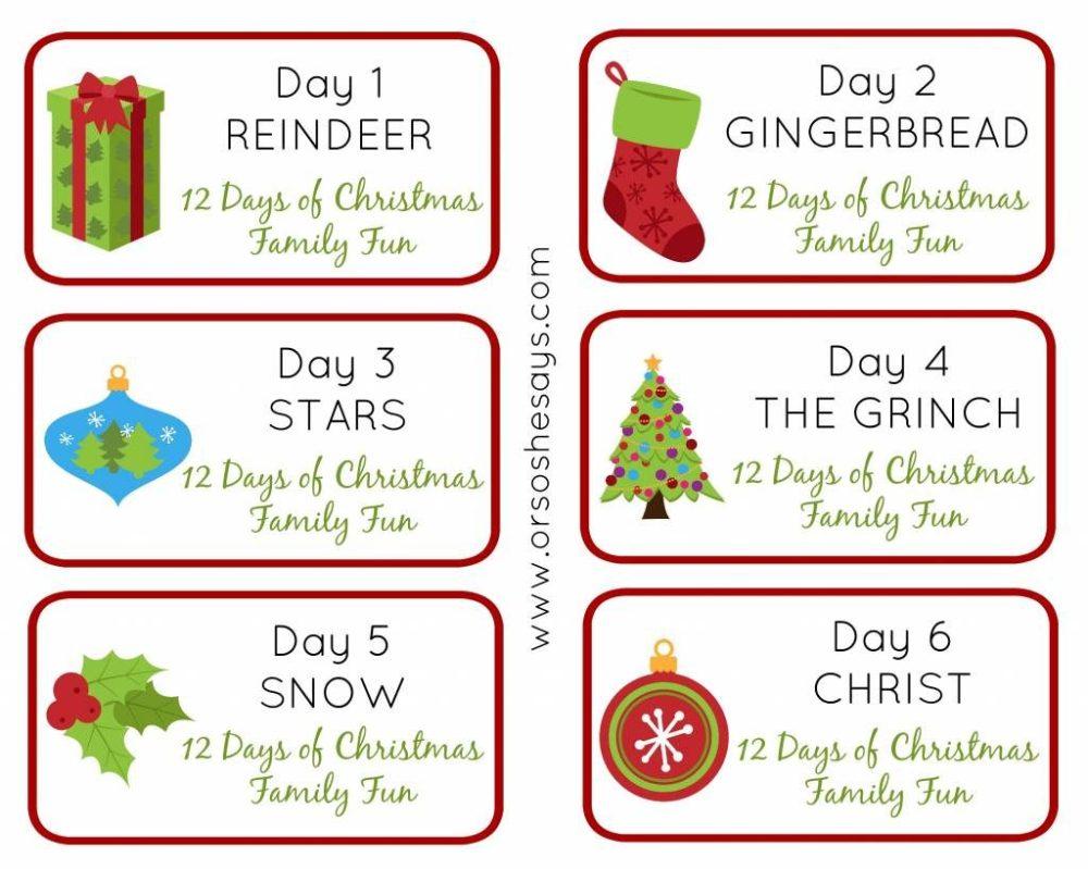 medium resolution of 12 days of christmas family fun days 1 6 theme tags