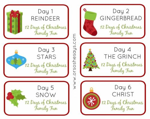 small resolution of 12 days of christmas family fun days 1 6 theme tags