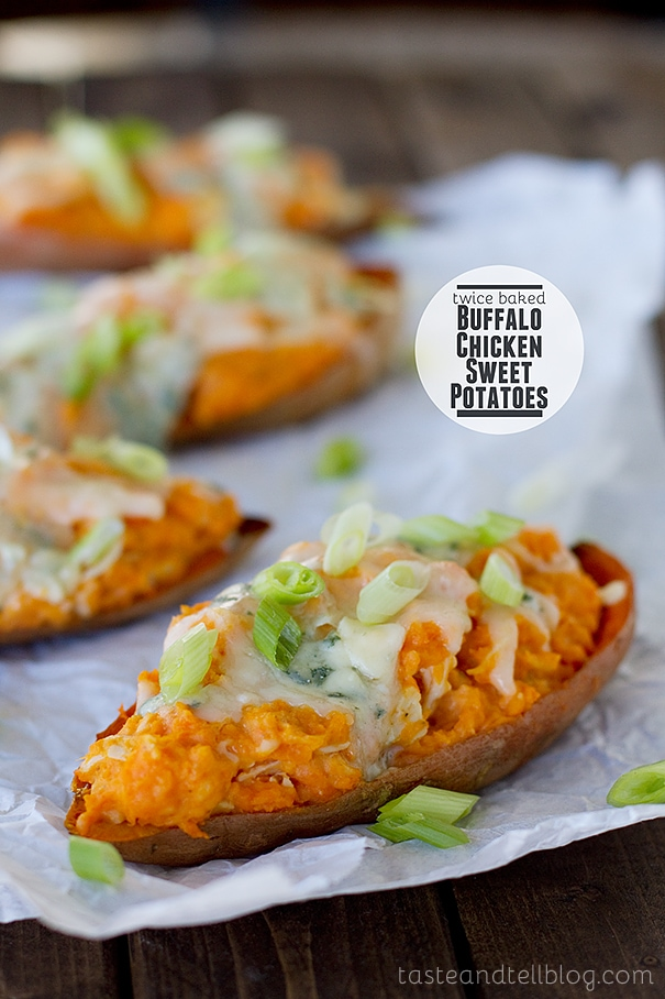 Twice Baked Buffalo Chicken Sweet Potatoes - Ultimate Tailgating Series