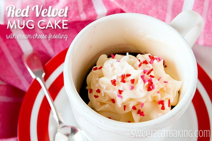 Red Velvet Mug Cake by Sweet2EatBaking.com