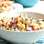This corn salad only calls for 5 ingredients and can be customized to cater your family's favorite flavors. Find the recipe at www.orsoshesays.com.