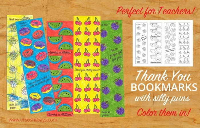 Printable Thank You bookmarks - Spend some time today putting together a thank you gift for your kids' teachers that include one of these bookmarks!