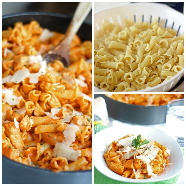 Roated Red Pepper Pasta with Grilled Chicken Collage