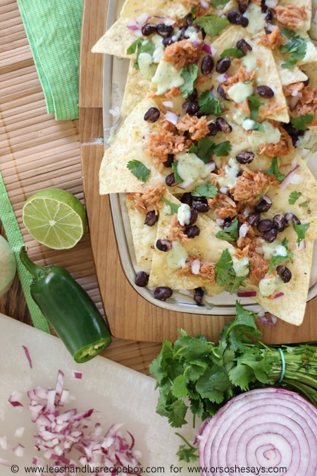 Sweet Pork Nachos baked in the oven are a fun twist on a family favorite!