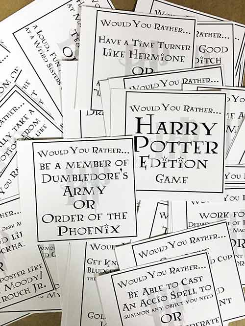Harry Potter Printables Would you rather game cards