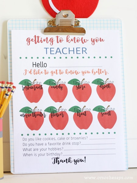 Get to know what your kids teachers really want for teacher appreciation with this free printable getting to know you teacher survey