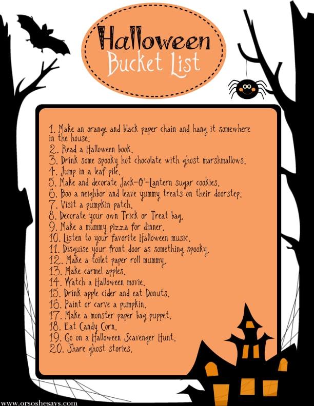 """""""Or So She Says"""" Halloween Bucket List"""
