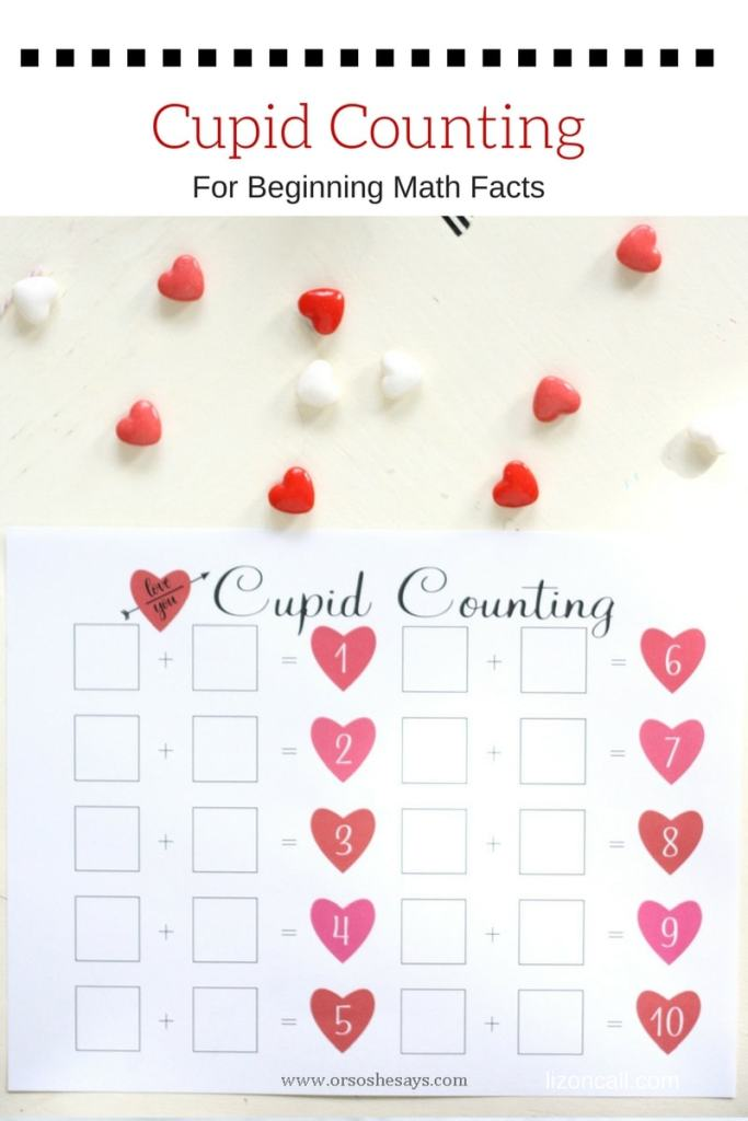Help your early learners practice their math skills with this free printable cupid counting page. Get the download at www.orsoshesays.com.