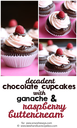 Perfect for Valentine's Day, these decadent chocolate cupcakes are topped with ganache and raspberry buttercream frosting. Get the recipe on the blog today! www.orsoshesays.com
