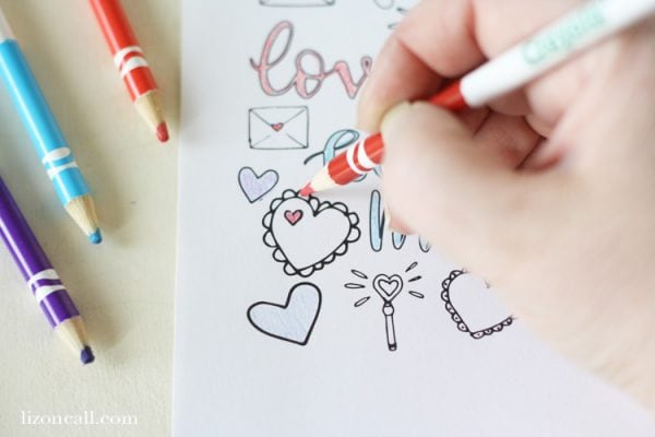 This fun Valentine Coloring page is available for free to download at lizoncall.com