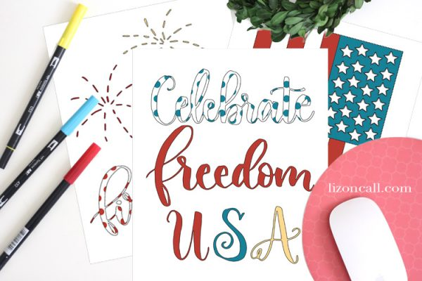 free printable patriotic coloring book at lizoncall.com