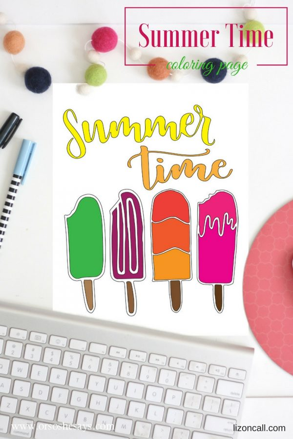 Avoid summertime boredom with this free printable summertime coloring page. Get the download at www.orsoshesays.com.