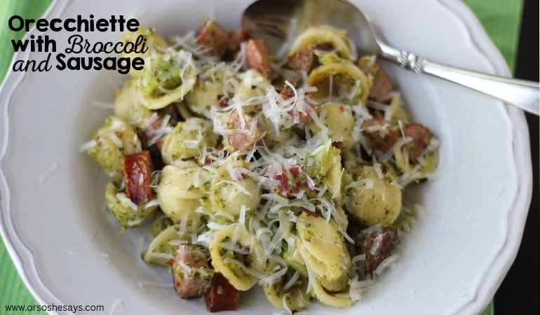 This dish is made without cream, so it's a lighter recipe that's perfect for the heat. Summer pasta may not be your first thought, but it's worth a shot! This orecchiette with broccoli and sausage is delish, and the kids love the fun shaped pasta they picked out! www.orsoshesays.com
