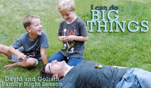 Teach the kids about David and Goliath in this family night lesson prepared by Adelle. They need to know they're strong, no matter their size! Get the whole lesson at www.orsoshesays.com.