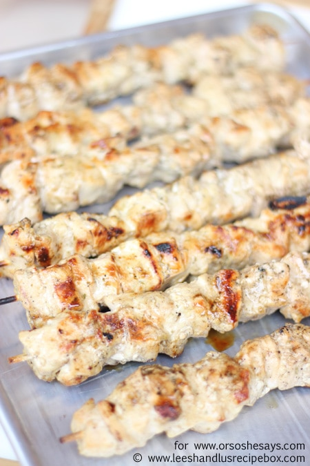 These Rosemary Chicken and Veggie Kebabs are full of flavor, and the resulting chicken is moist, tender and oh-so-delicious! Get the recipe on www.orsoshesays.com.