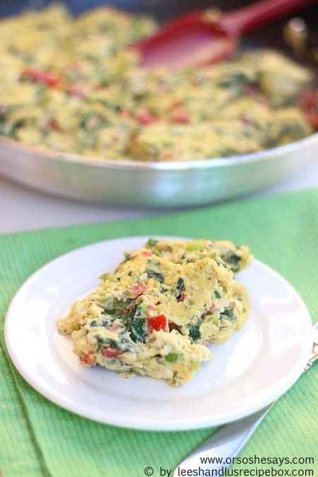 This omelette is a great clean-out the fridge recipe that comes together in a snap. Use up those summer veggies in this dish!