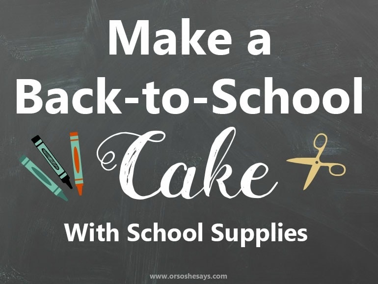 Shop Kmart to get the back-to-school essentials you need to make your kids' teachers a school supplies cake! See the how-to in today's post on www.orsoshesays.com.