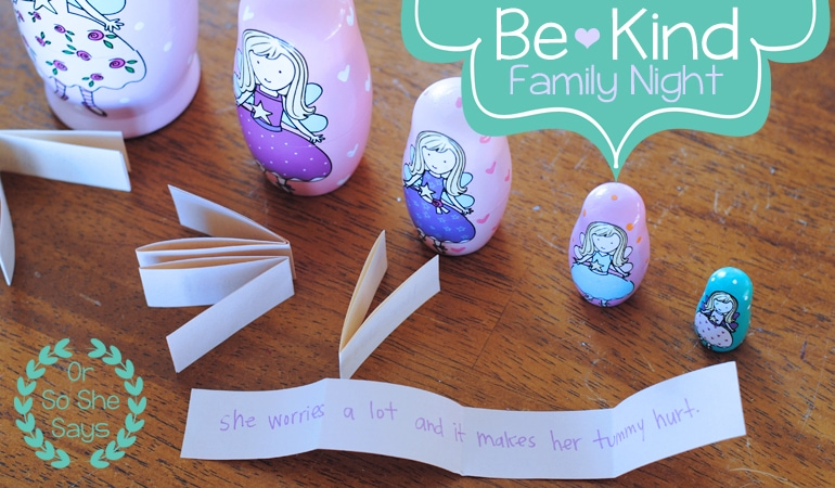 Here is a little object lesson that helps to demonstrate the need to show kindness always. It's a great idea for your next family night! www.orsoshesays.com