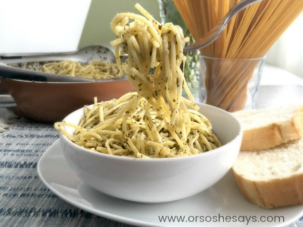 This 4 ingredient chicken pesto pasta can be on the table in just 30 minutes! Yes, that includes the chicken prep, and grating the cheese! Get the recipe today on the blog: www.orsoshesays.com
