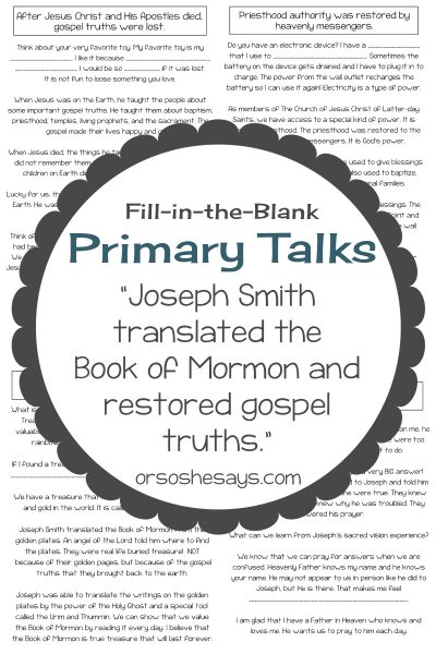 If your child has an April primary talk, then you're in the right place! Get free, printable, fill-in-the-blank talk templates today on the blog. www.orsoshesays.com