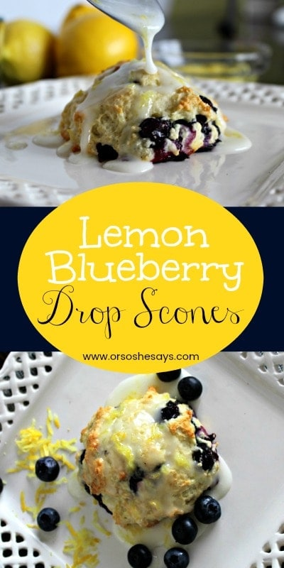 It has felt like spring for weeks! Which makes me want everything lemon! In my food, in my laundry, in my cleaning products, even in my car. Everywhere!! That's why I decided it was time to make lemon blueberry drop scones. www.orsoshesays.com
