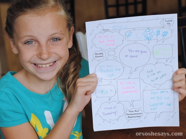 This Free Printable Kind Words Activity Sheet is perfect for a Family Night Lesson! www.orsoshesays.com #FHE #MyChurch #FamilyNight #Kindness #KindWords #FamilyActivity