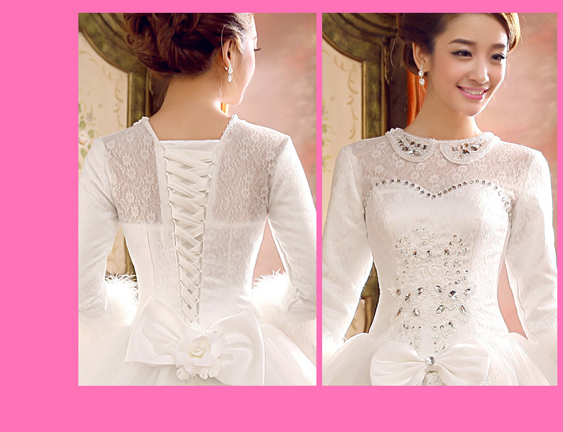 Long Sleeve Lace Collar Ball Gown Wedding Gown