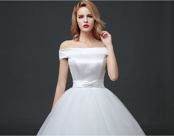 Off The Shoulder Simple Satin Wedding Ball Gown