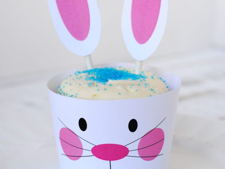 Free printable bunny cupcake wrappers and ears