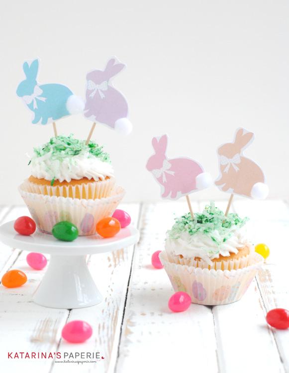 Free printable bunny cupcake toppers