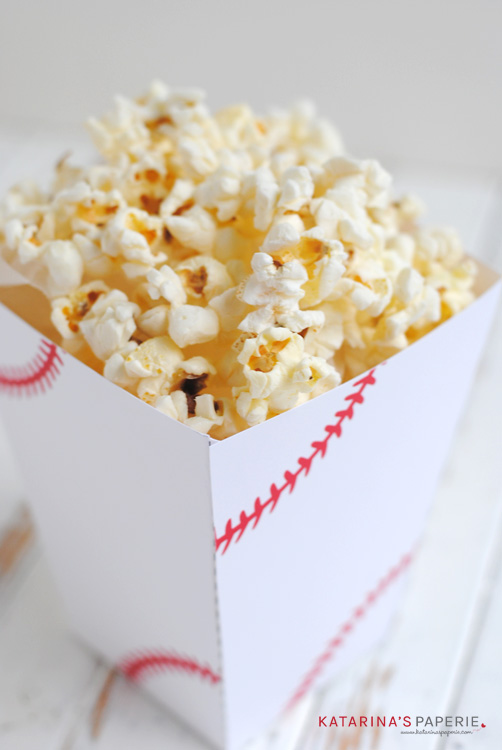 Free printable baseball popcorn box