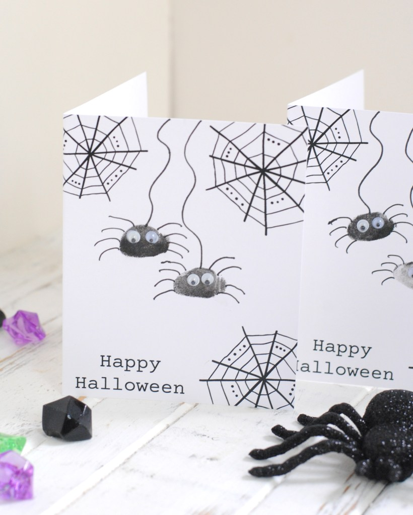 Kids handmade spider card made with thumbprints